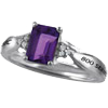 800 Series Ladies Premier Ring with Genuine Amethyst (Purchasable Upgrade for Adults). The Genuine Amethyst may also be added to the 10K and 14K gold ring upgrade.